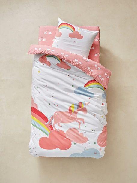 parure housse de couette taie d 39 oreiller enfant licorne rose 3 unicorn licorne en 2018. Black Bedroom Furniture Sets. Home Design Ideas