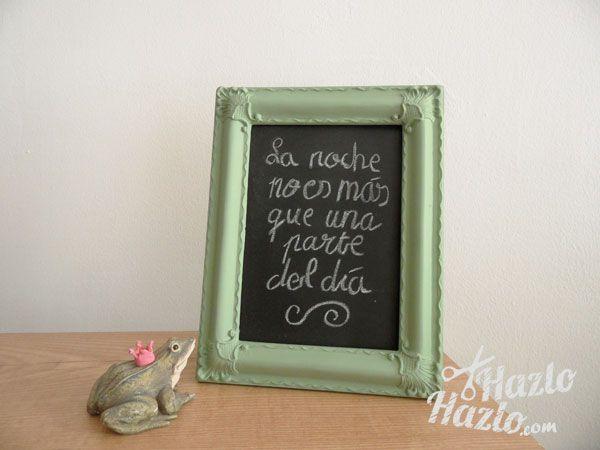Pizarra hecha a mano. | Hecho a mano | Pinterest | Pizarra, Marcos y ...