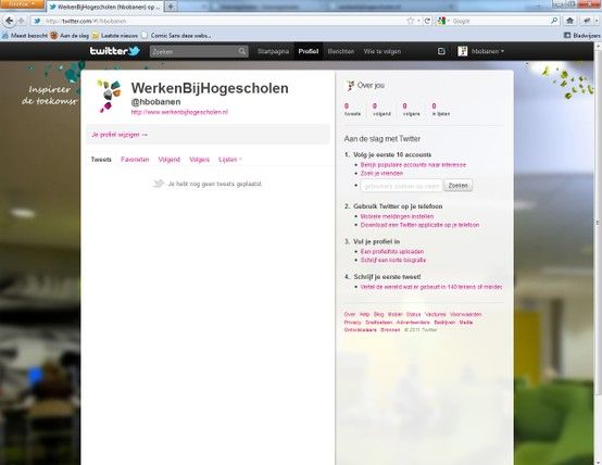 2010 - Design van de Twitterpagina voor Werken bij Hogescholen (www.werkenbijhogescholen.nl/), een frisse professionele vacaturesite waar de bezoeker voelt en ervaart wat het betekent om op een hogeschool te werken.