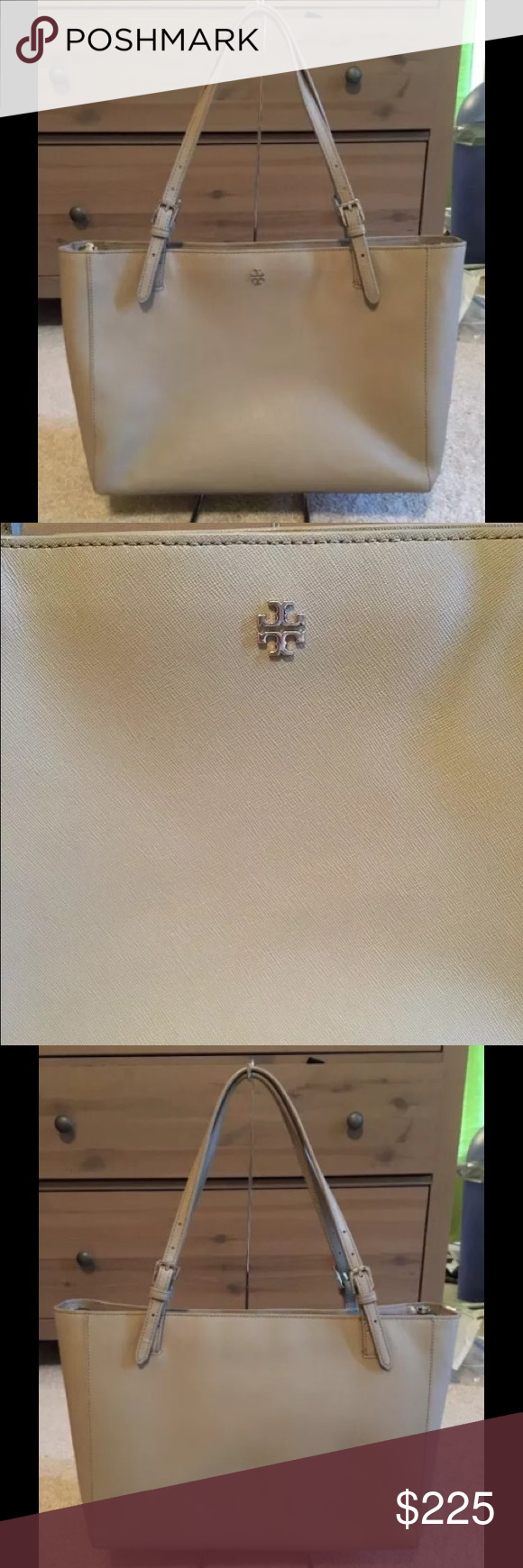 Tory Burch Large French Gray York Buckle Tote 595 My Posh Picks Typical Light Wear No Serious Flaws
