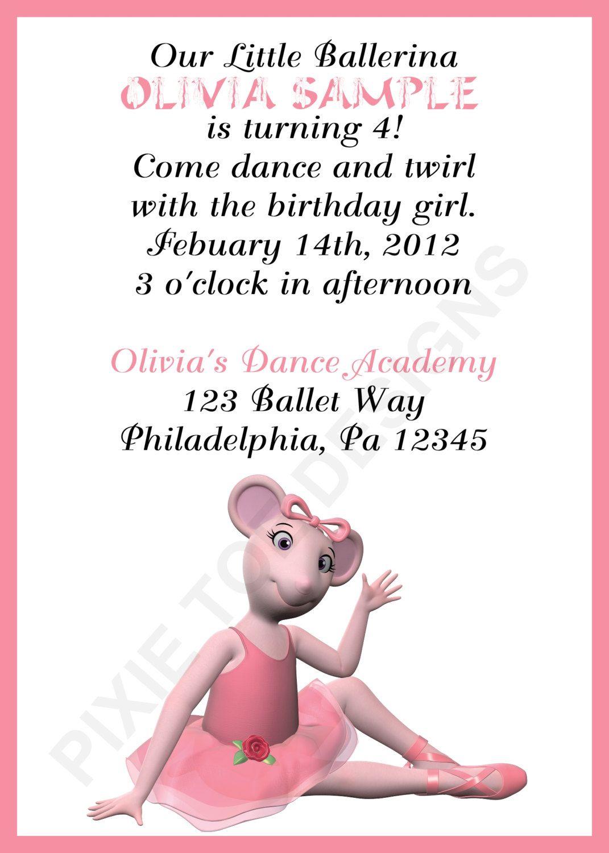 Angelina Ballerina invite idea | Braxton\'s Birthday Ideas ...