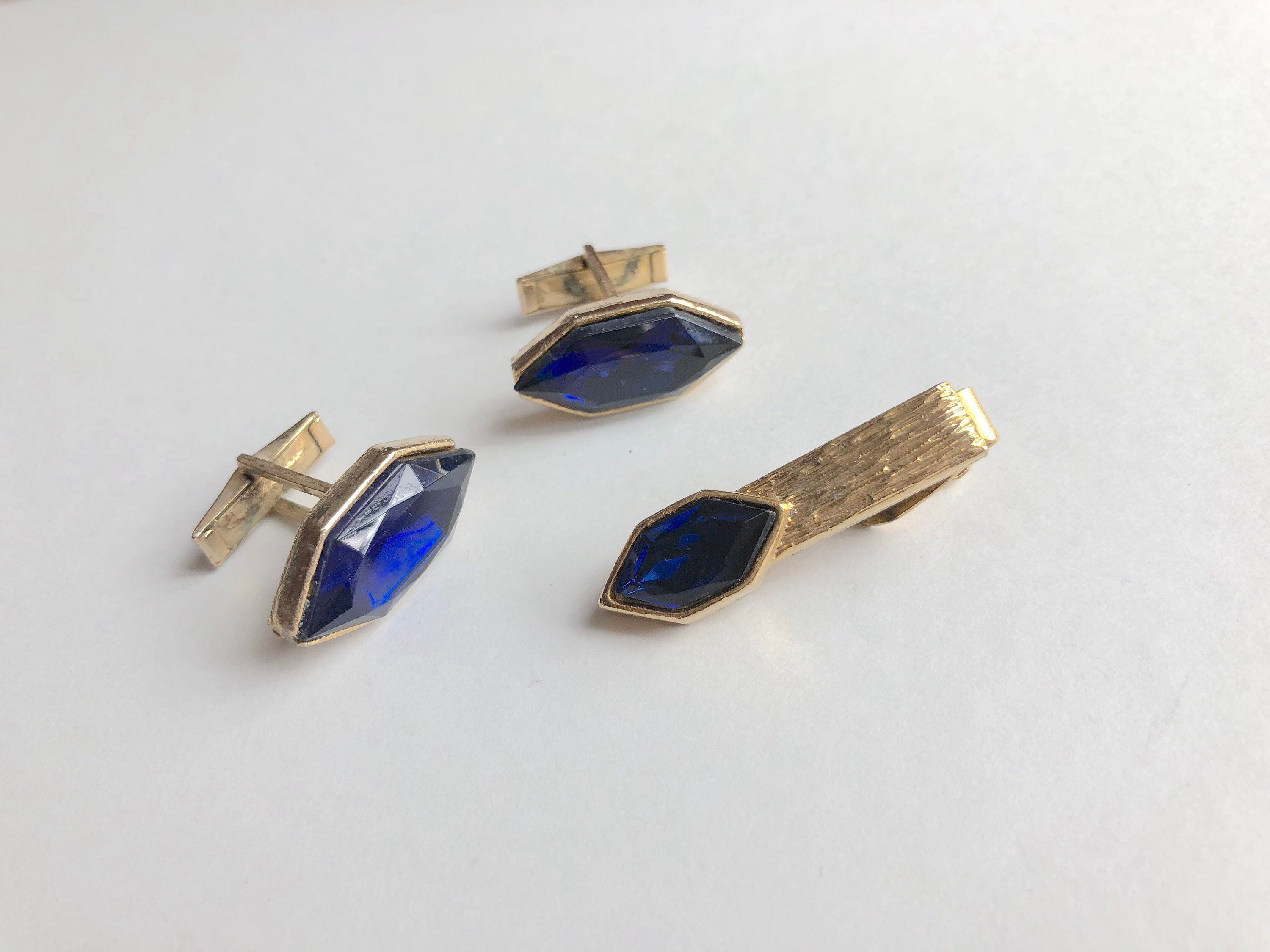 b90dad02a0d3 Excited to share the latest addition to my #etsy shop: Matching Cufflinks  and Tie Clip Vintage Jewelry Navette Rhinestone Royal Blue Sapphire Cuff  Links ...
