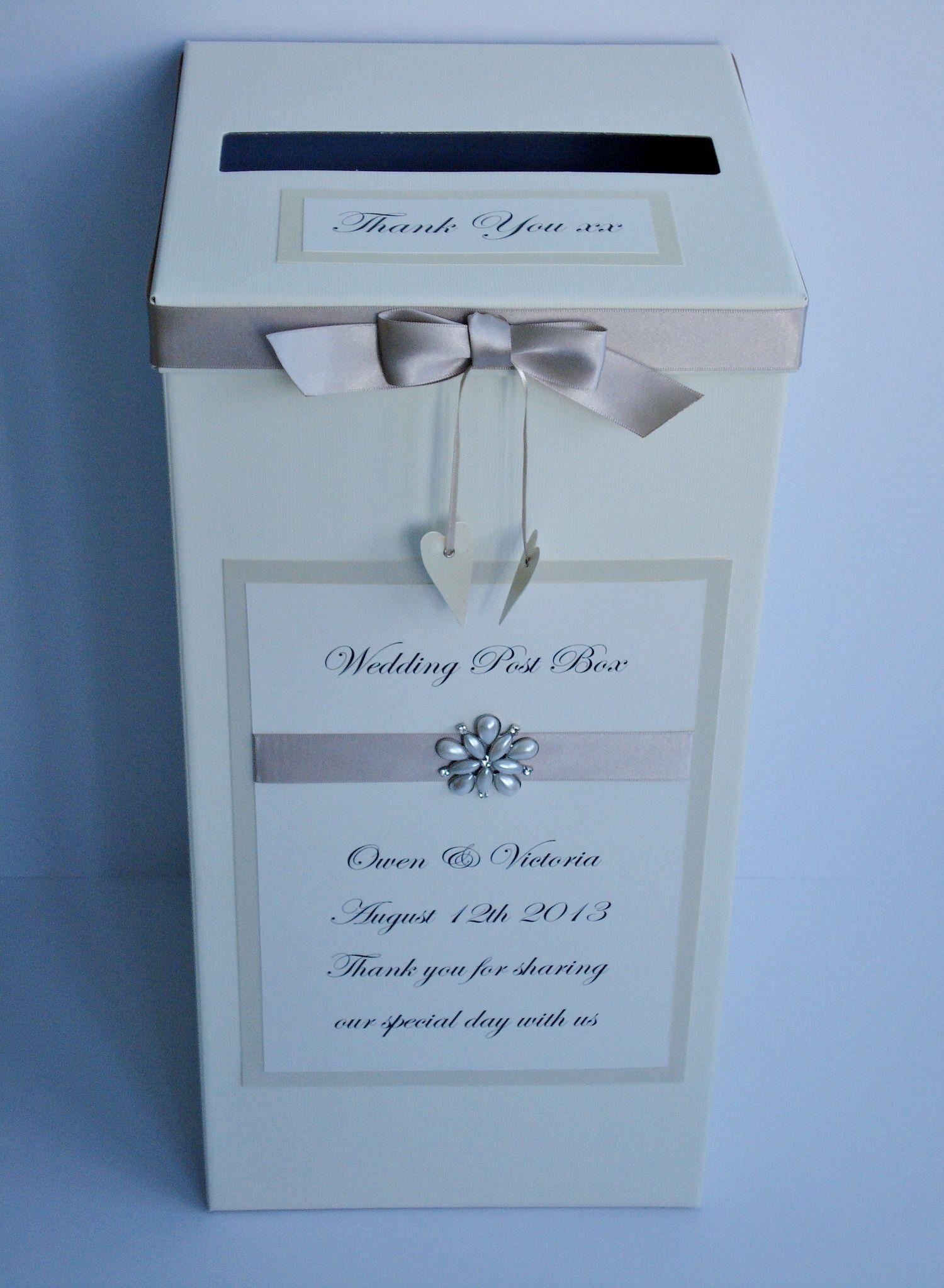 Mocha crystal and pearl wedding post box 2500 www