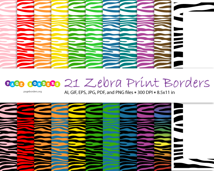 Zebra Print Borders In 21 Different Color Schemes Get It At
