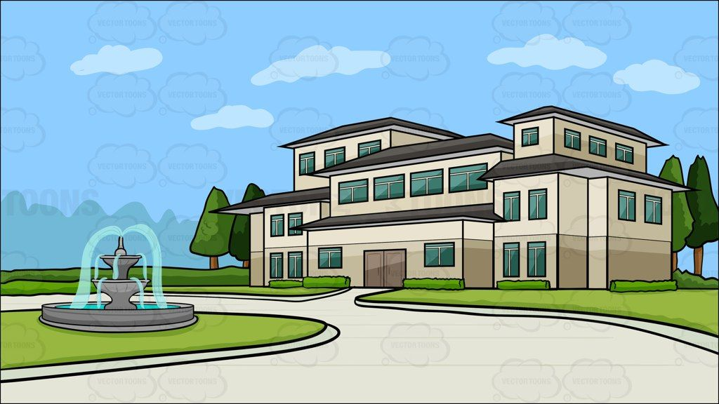 A Mansion With A Round Driveway Background Big Mansions And - Big cartoon house