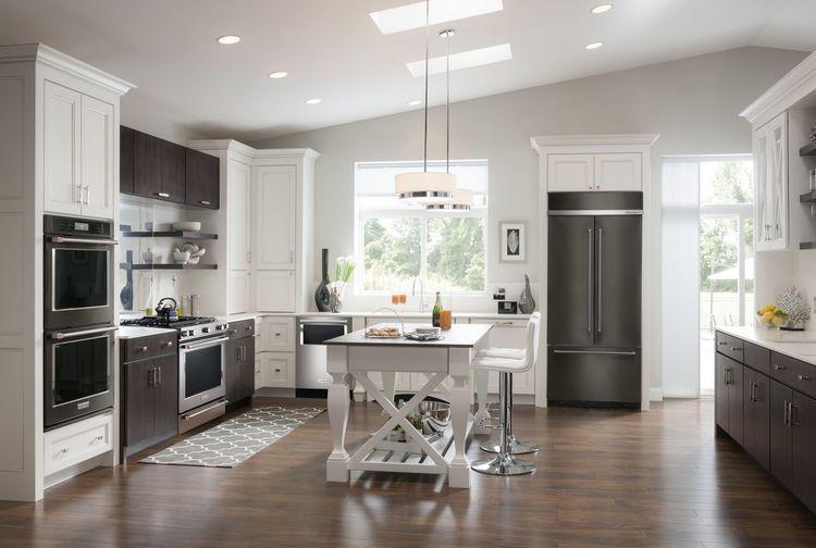 KitchenAid Black Stainless Steel Appliances In A Modern Kitchen
