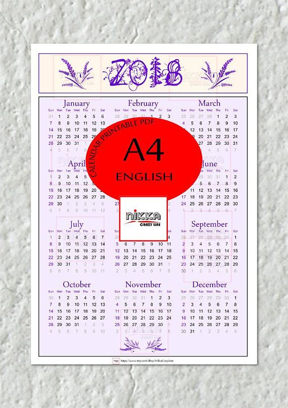 Calendario Anno 2018 Da Stampare.Printable Calendar 2018 Yearly Calendar Wall Calendar