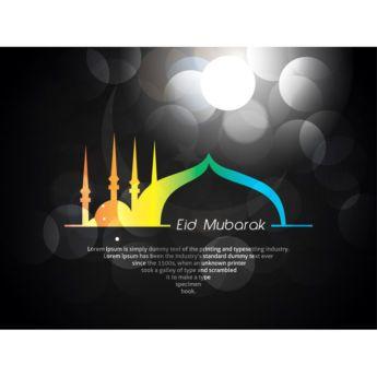 Vector Eid Mubarak Card Design On Black Background Free Vector