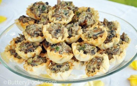 pastry, mushrooms, recipes, phyllo shells,thyme