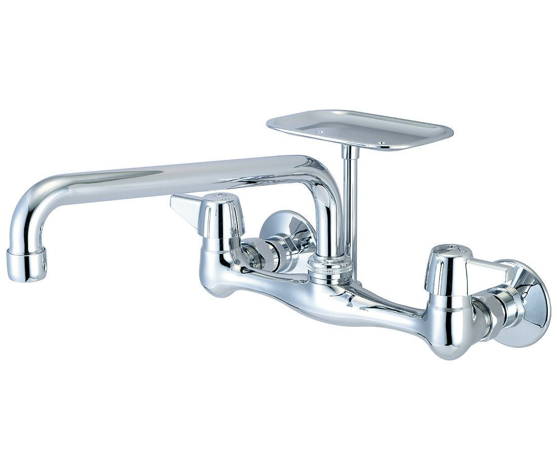 Double Handle Wall Mounted Kitchen Faucet with Soap Dish   Products ...
