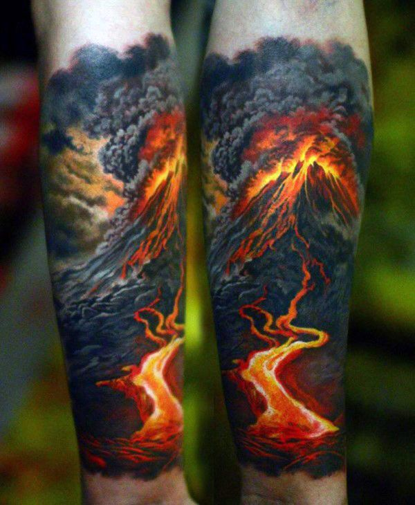 Mens Forearm Sleeve Volcano Hot Lava Badass Tattoos                                                                                                                                                                                 More