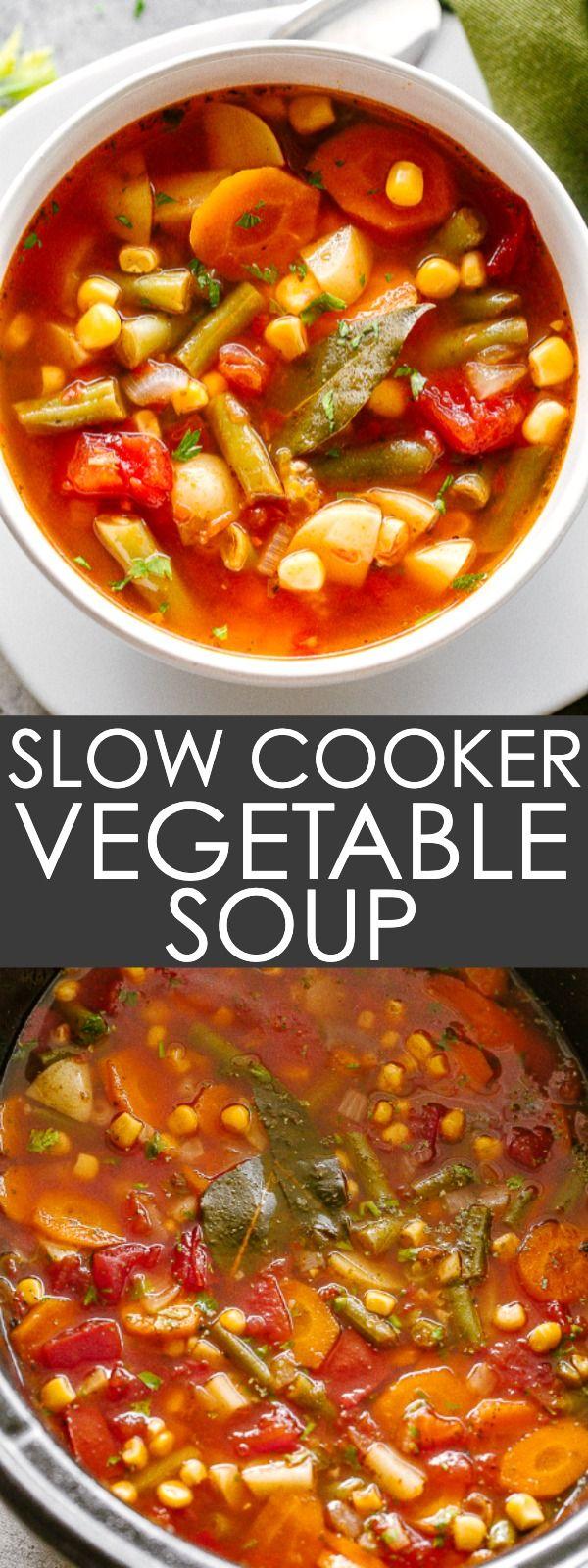 Slow Cooker Vegetable Soup Loaded With Fresh Vegetables