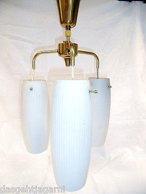 50er 60er Jahre Deckenlampe 3armig Lampe Leuchte Glasschirm Rockabilly