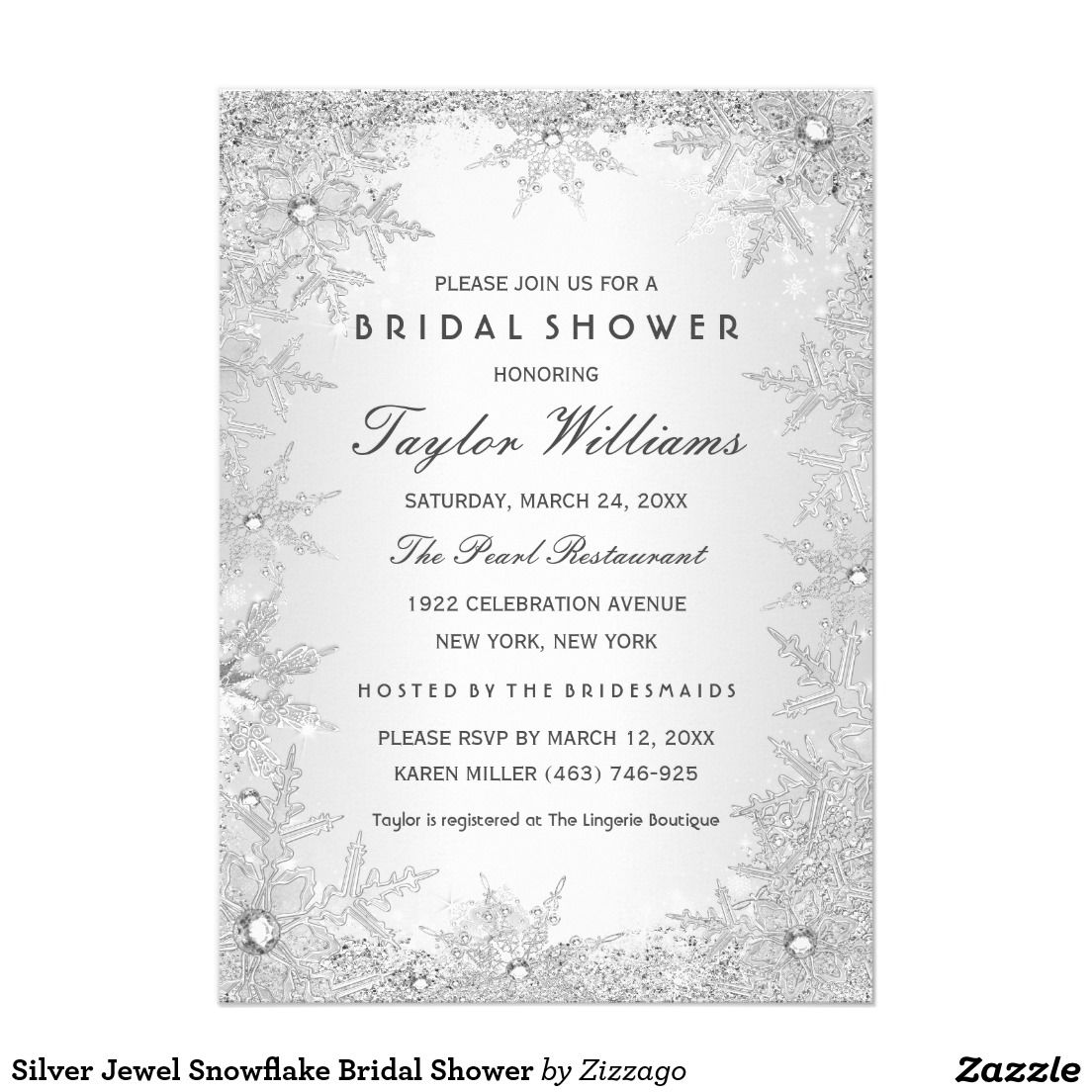 gorgeous silver jewel snowflake bridal shower 5x7 paper invitation card these are so pretty for a winter bridal shower so chic and trendy
