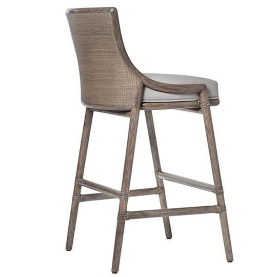 Laura Kirar Passage Bar Stool Contemporary, Metal, Upholstery Fabric,  Furniture By Mc Guire