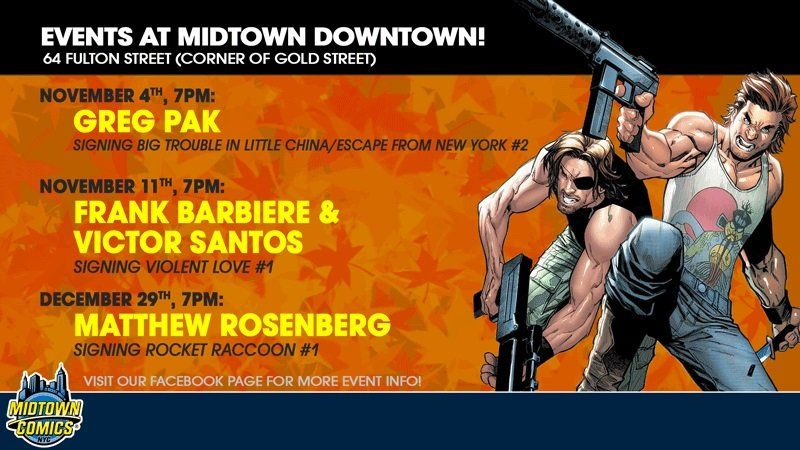 SIGNINGS ARE ON THE WAY! TOMORROW: @gregpak 11/11: @atlasincognita / @polarcomic  12/29: @AshcanPress  Details here: https://www.facebook.com/midtowncomics/events/ …
