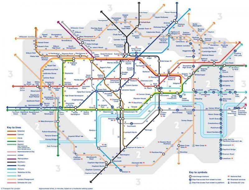 Carte Metro Londres.La Carte Des Distances Entre Les Stations De Metro A Londres