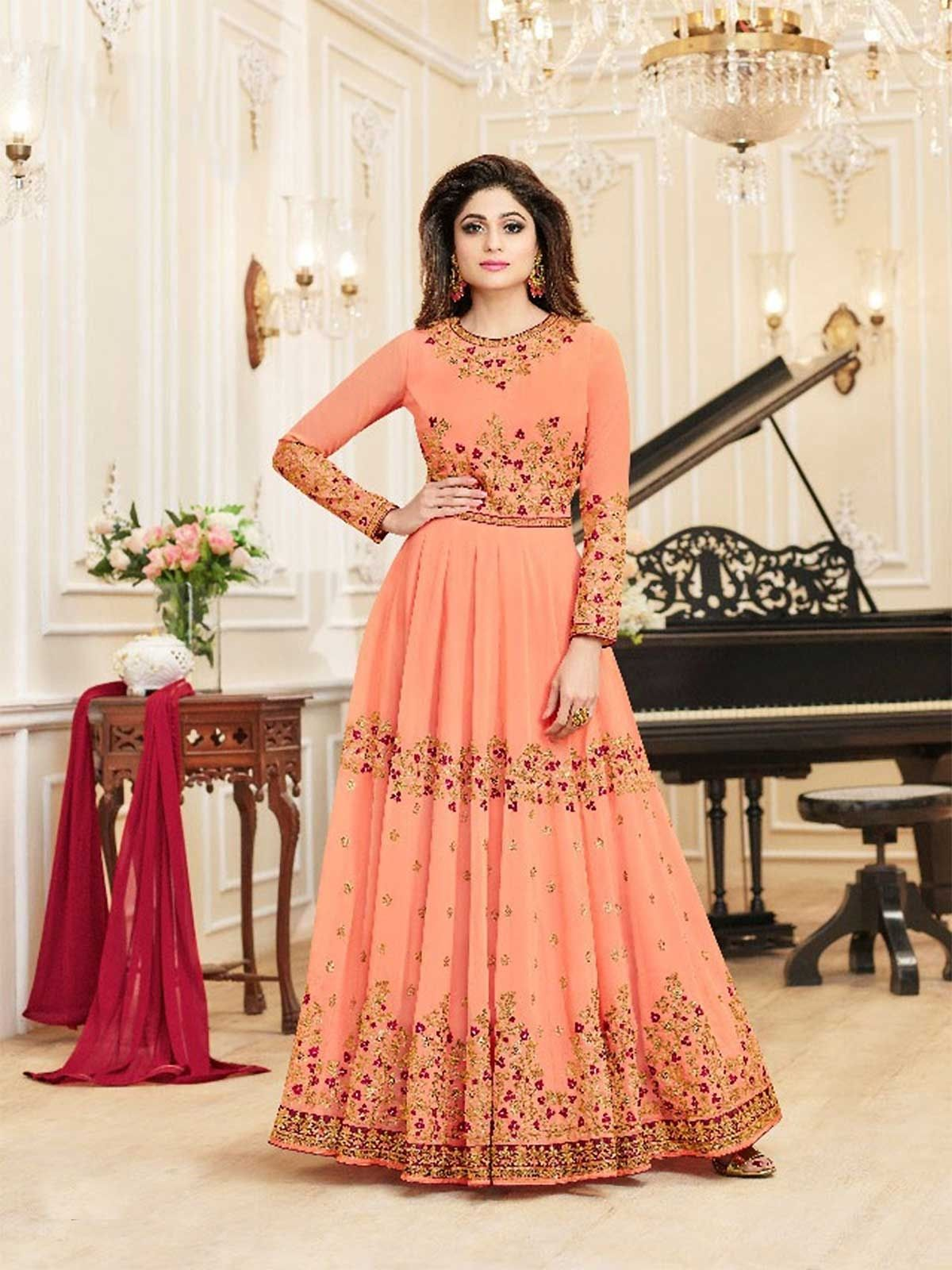 Buy designer charming eid special peach long anarkali dress