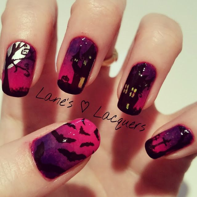 Gradient Halloween Spooky Scene Nail Art Nail Drt Pinterest