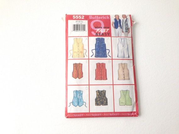 Butterick Sewing Pattern Nine easy Vest by 2Fun4Words on Etsy