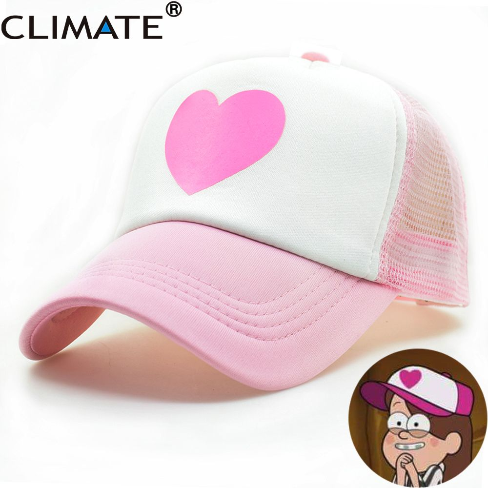 CLIMATE Girl Women Pink Mesh Summer Trucker Caps Gravity Falls Mabel Dipper  Cosplay Caps Young Girl Pink Cool Net Mesh Hat Caps 72150be72b86