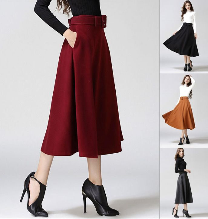 13fba088fb7 Womens Casual Swing Long Dress Warm Skirts Retro Belts Wool Blend Winter  Warm M2