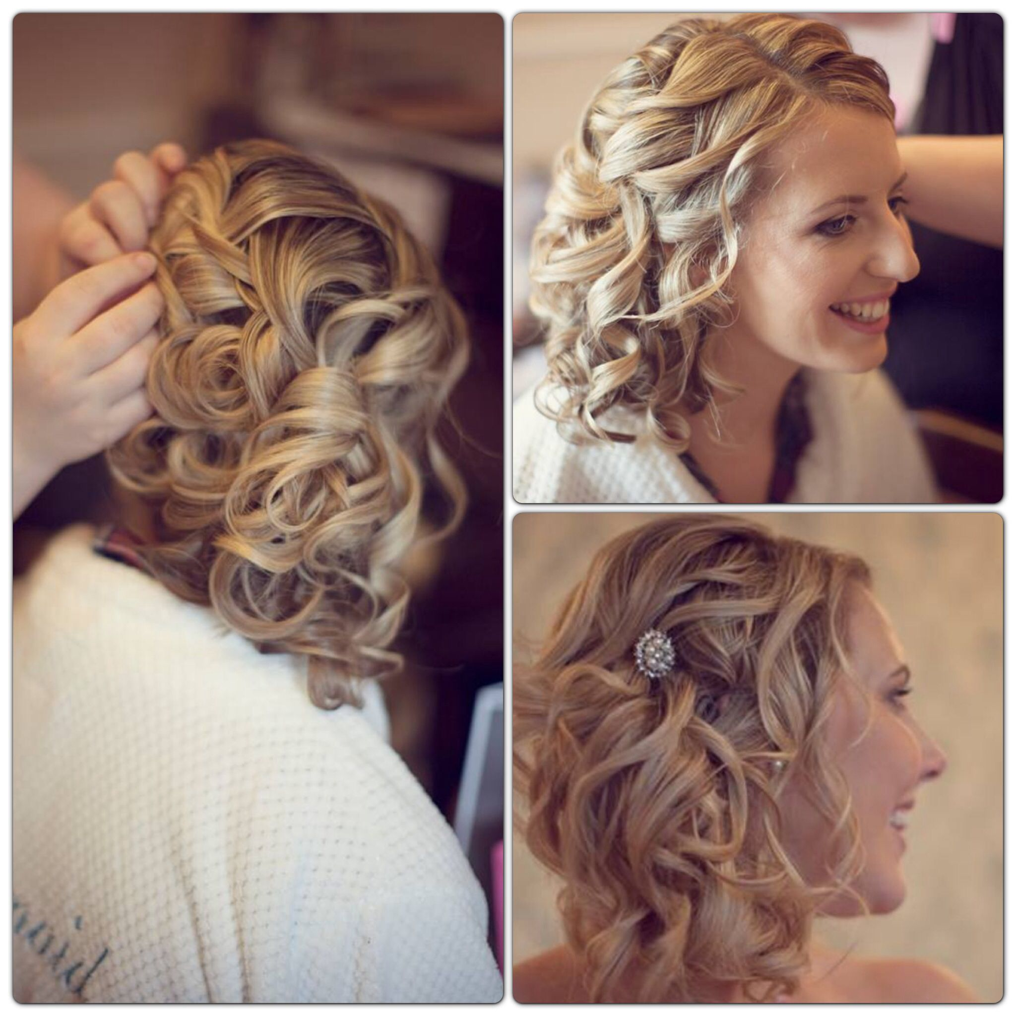 Wedding Style Side Updo Bridal Up Loose Curls Blonde