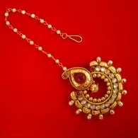KC13,Daphne Gold Tone Kundan Stone Women Maang Tikka Earring Set For Women