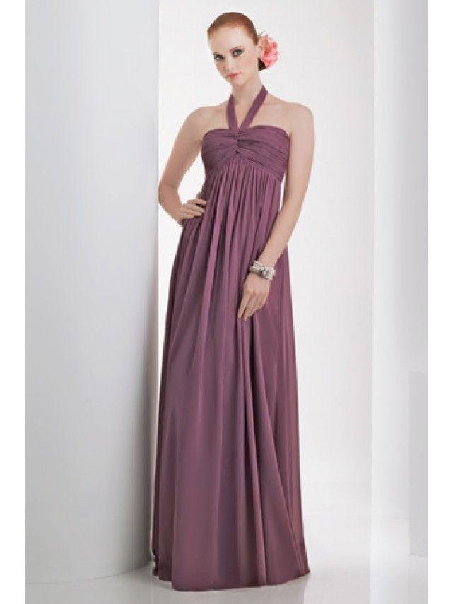 Empire Halter Floor Length / Long Chiffon Bridesmaid / Wedding Guest ...