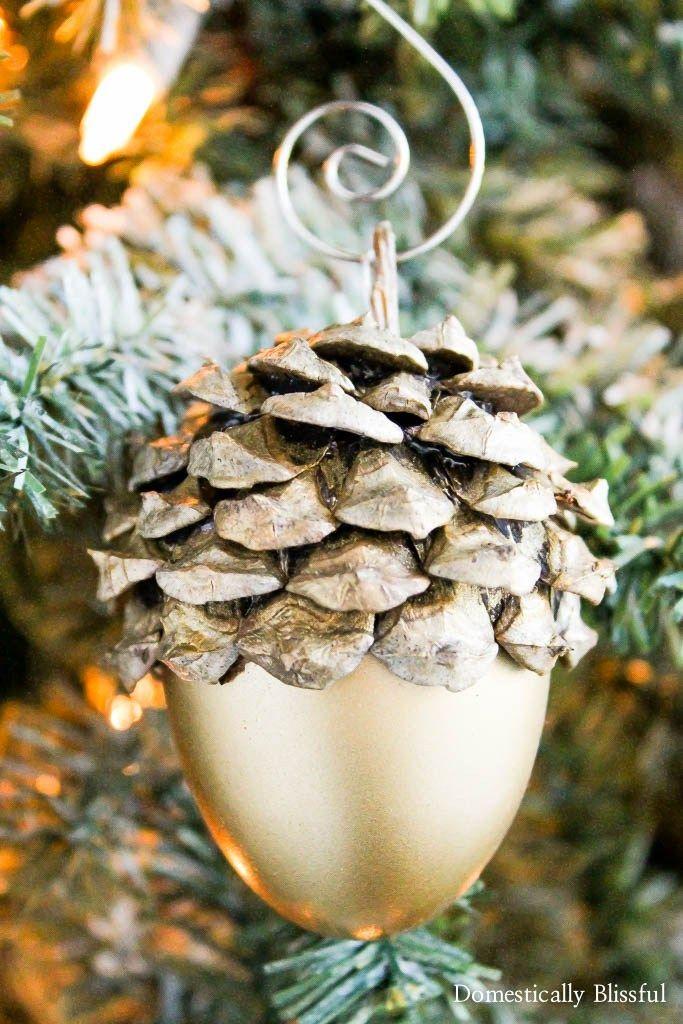 Gold Acorn Christmas Ornament - Gold Acorn Christmas Ornament DIY Christmas 3 Pinterest