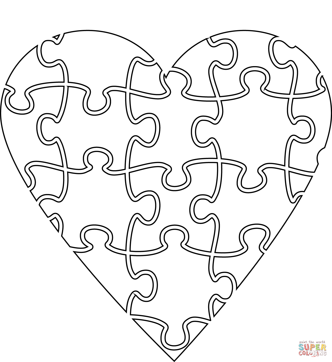 Heart Jigsaw Super Coloring Valentine Coloring Pages Heart Coloring Pages Free Printable Coloring Pages [ 1500 x 1375 Pixel ]