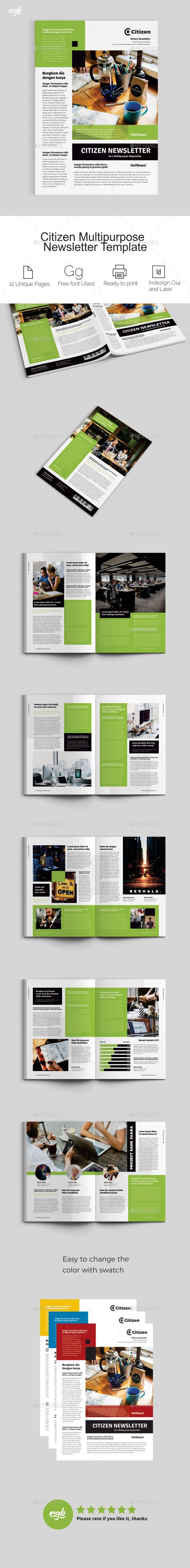 Citizen Multipurpose Newsletter Template InDesign INDD - A4 and US ...