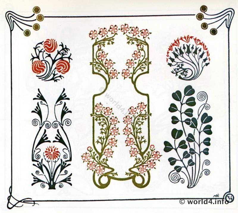art nouveau ornaments graphic design art deco period 1910 illustrations design decoration. Black Bedroom Furniture Sets. Home Design Ideas