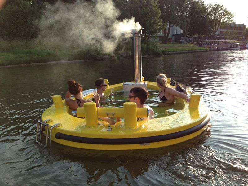If It's Hip, It's Here: The HotTug. A Motorized Floating Wood-Fired Hot  Tub! | Tub, Hot tub, Boat