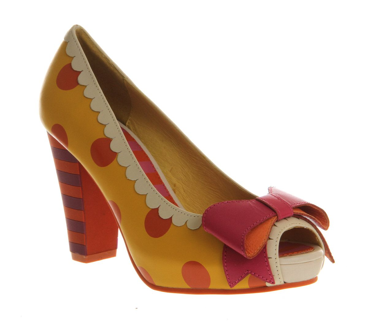 new concept 62250 c4f89 Lola Ramona Angie P Peeptoe Yellow Orange Polka Leather ...
