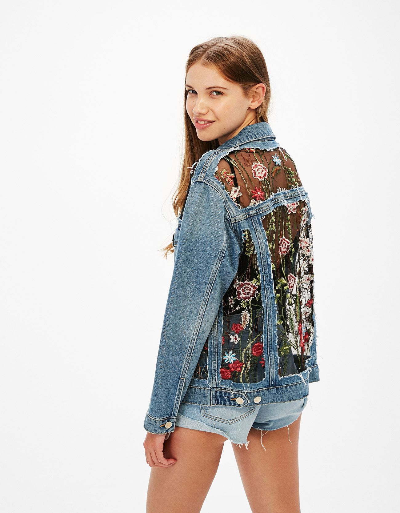 Tulle And Denim Jacket With Floral Embroidery Discover This And Many More Items In Bershka With New Products Every Wee Denim Jacket Jackets Embroidery Jackets [ 1667 x 1300 Pixel ]
