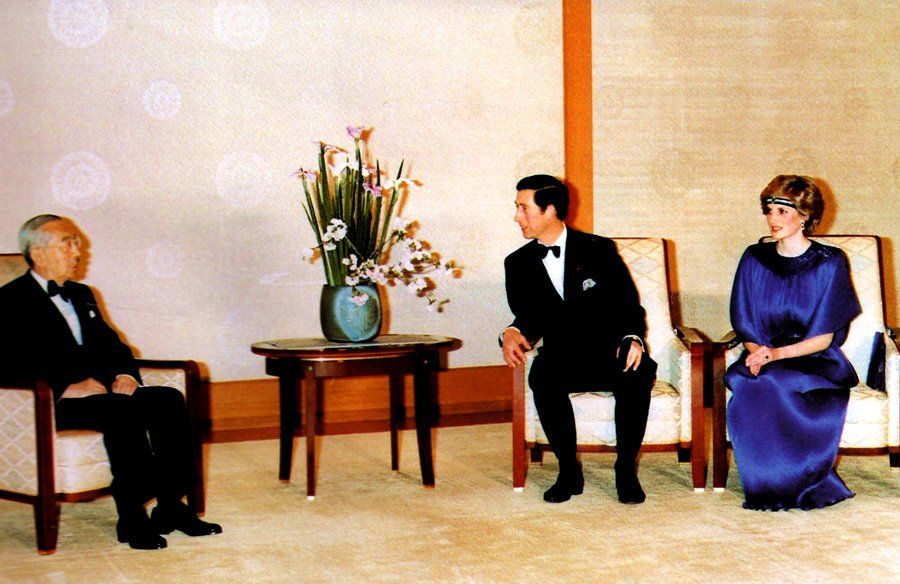 1986-05-13 Diana and Charles with Emperor Hirohito at the Imperial Palace in Tokyo