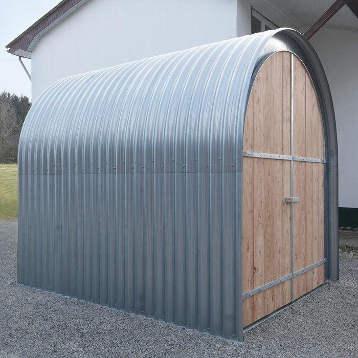 Gartenhaus Wellblech mit Holzfront Metal shed, Outdoor