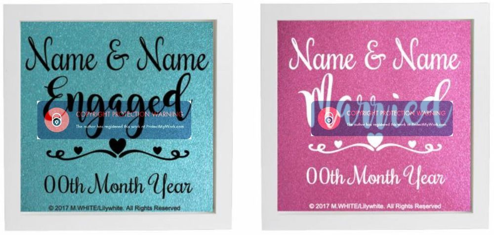 vinyl sticker for diy box frame engaged married personalise