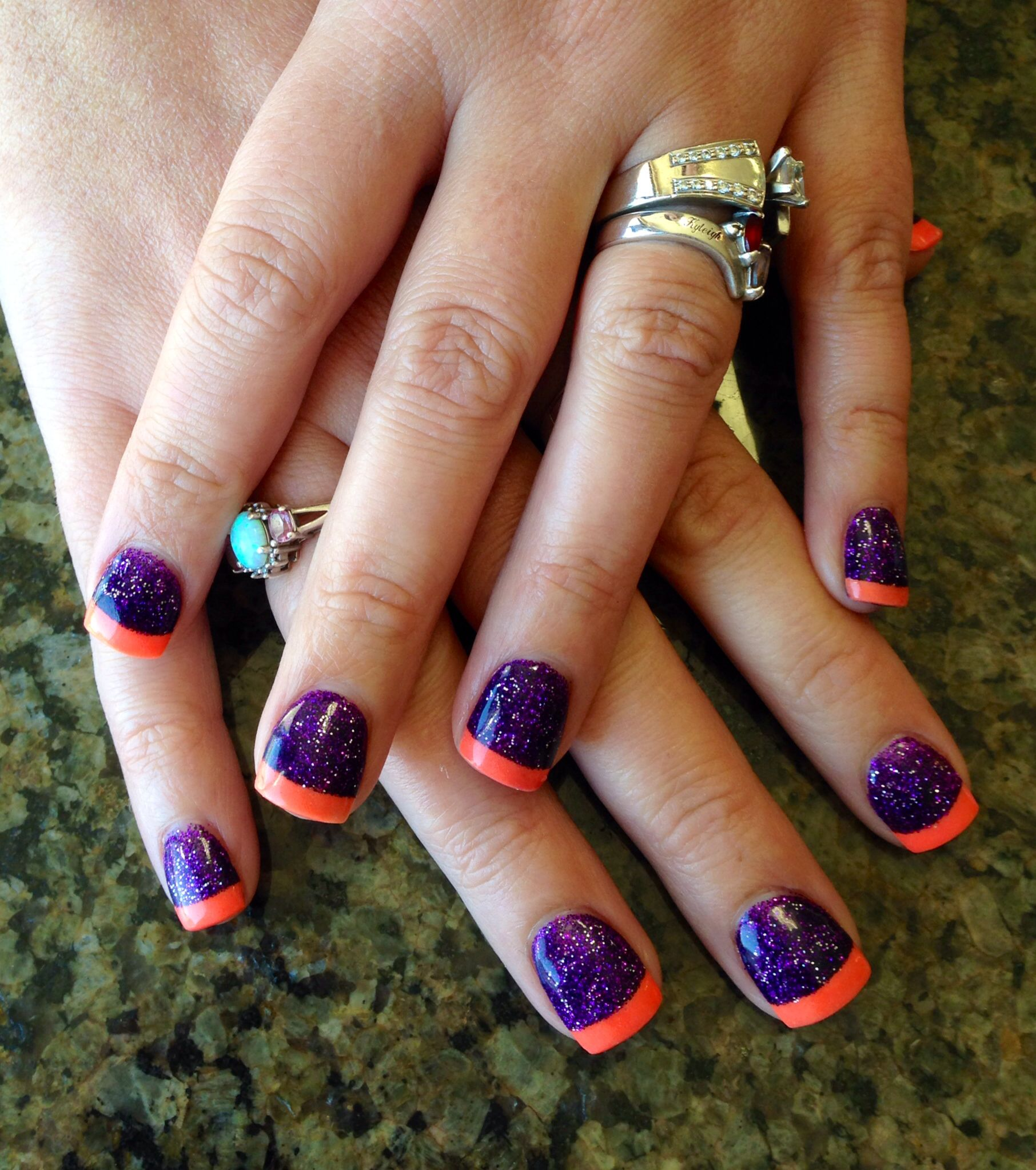 Purple and orange Halloween nails (With images ...