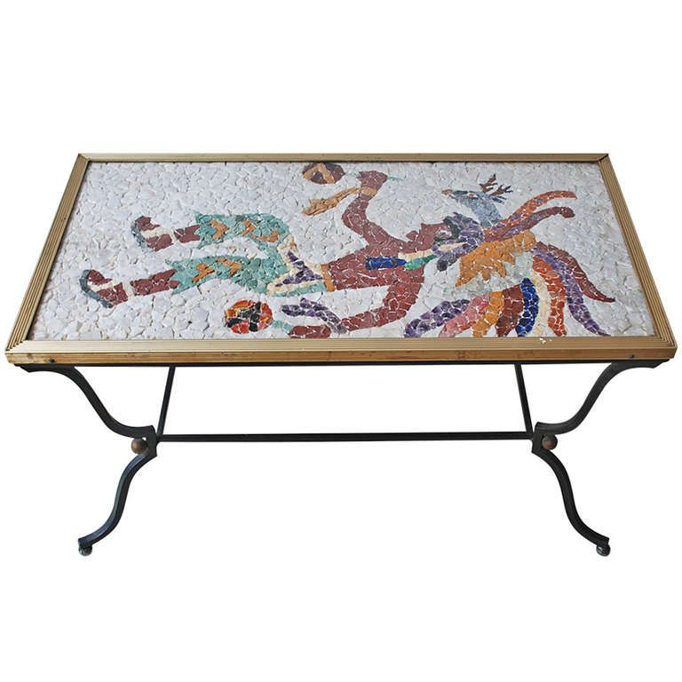 Coffee table with stone mexican design figure attributed