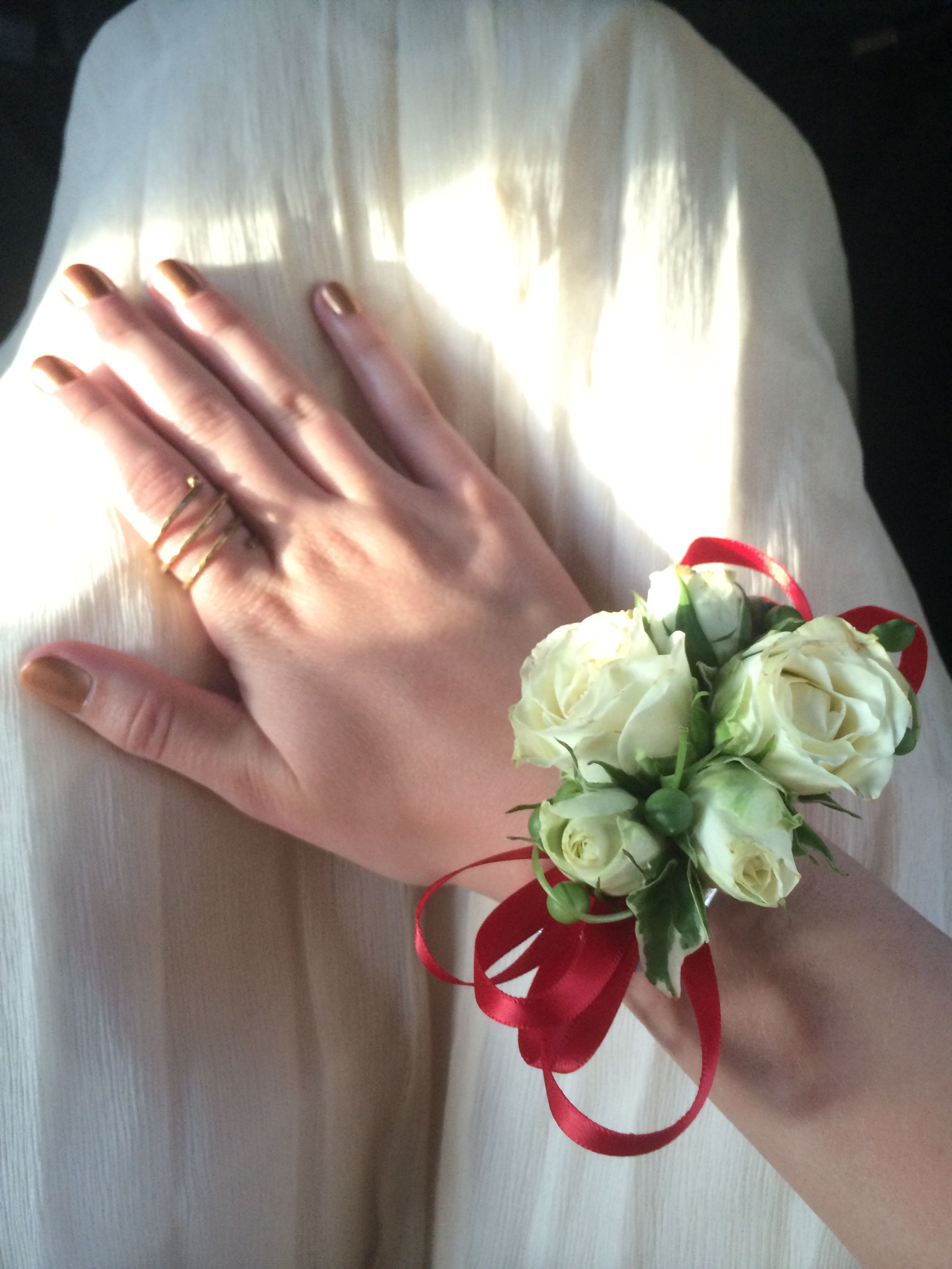 Beautiful Corsage By Winstons Flowers White Spray Roses With A Red