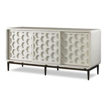 Blue Print   Dallas, TX   Honeycomb Cabinet   Hand-finished, white gesso cabinet with raised hexagonal detail. Easy access panels for media use. Midcentury modern decor.