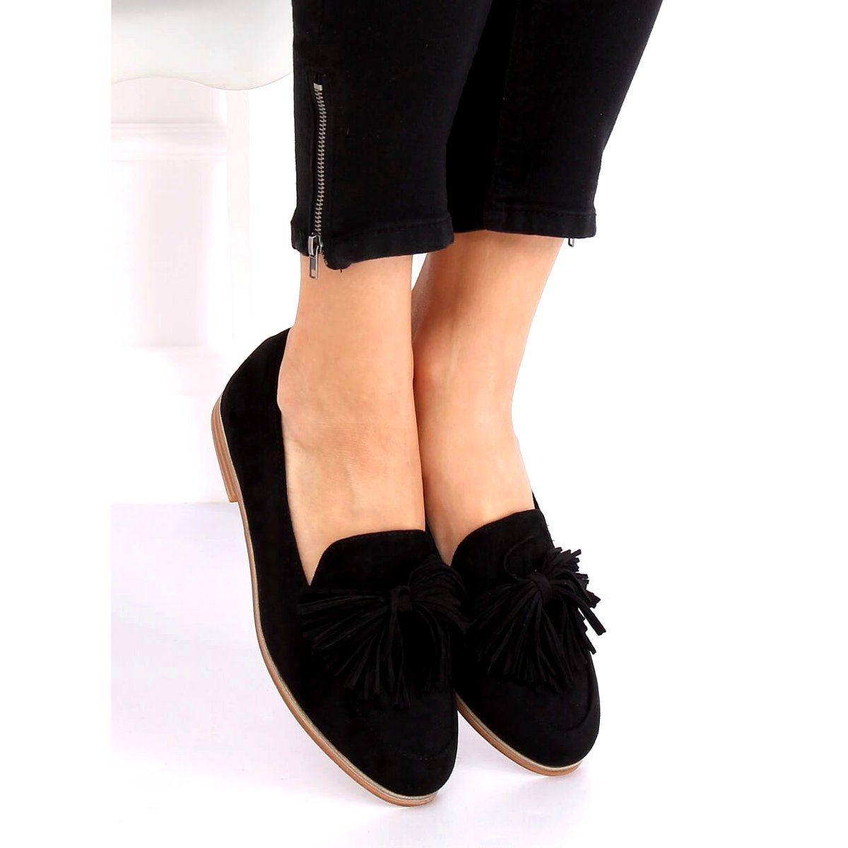 Mokasyny Damskie Z Fredzlami Czarne T357p Black In 2020 Loafers Fashion Shoes