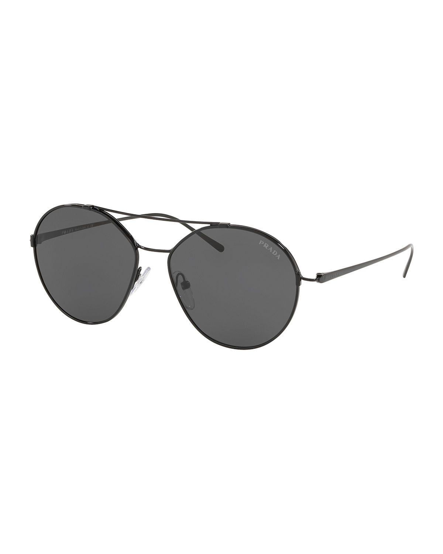 c736f9f5c60d Prada Men s PR63US Round Metal Aviator Sunglasses