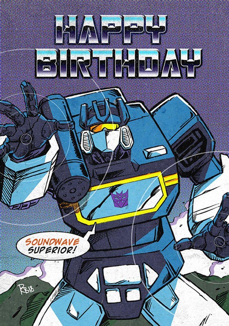 Transformers Soundwave Comic Birthday Card Etsy Transformers Soundwave Transformers Art Transformers Memes