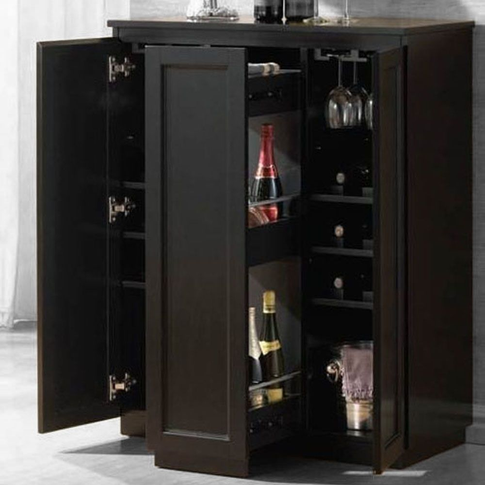 Ioanis Functional Wine Bar Server Cabinet Storage Drawers Shelves In Black New