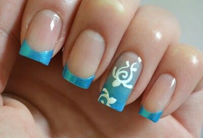 Sea turtle nail art blue french manicure Cute and classy! - Love This! Nail Designs! Pinterest Manicure, Crazy Nails And