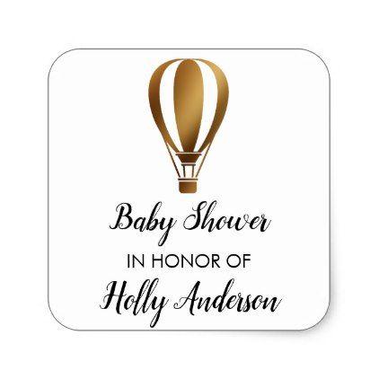 Baby shower gold glitter hot air balloon w name square sticker baby shower gold glitter hot air balloon w name square sticker baby shower gifts negle Gallery
