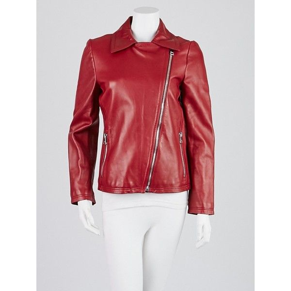 Pre-owned Gucci Red Lambskin Leather Jacket (11 475 UAH) ❤ liked on Polyvore featuring outerwear, jackets, lamb leather jacket, asymmetrical zipper jacket, red biker jacket, red jacket and gucci